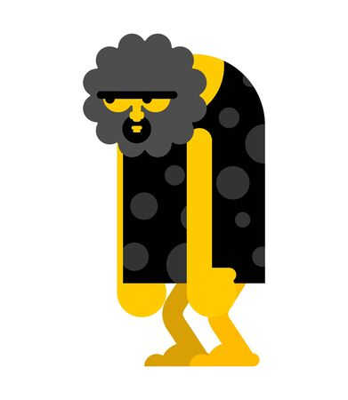 Homme des cavernes stupide isolé. L'homme préhistorique émoussé. L'homme antique pense