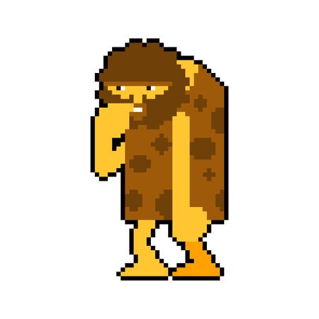 Prehistoric man pixel art isolated. Caveman 8 bit. Ancient man
