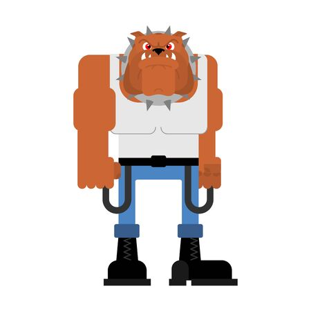 Hooligan dog. bully bulldog. ruffian pet. Vector illustration