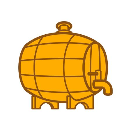 Wooden barrel with tap isolated. cask vector illustration. wood keg