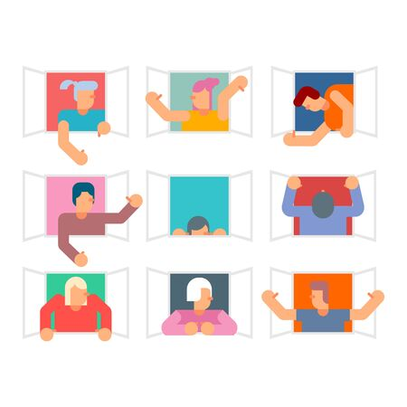 People in window set. Man casement waving his arms. vector illustration Illusztráció