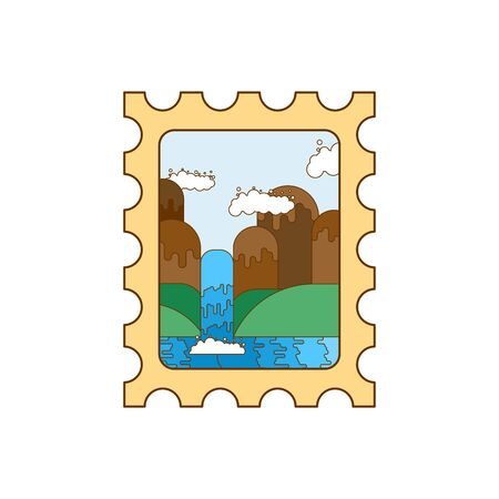 Postage Stamp with Landscape isolated. vector illustration