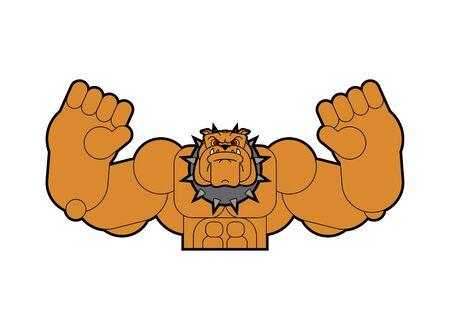 Strong dog. Powerful bulldog. pet bodybuilder. hard beast