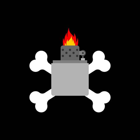 Petrol lighter and crossbones. Pyro symbol. vector illustration Ilustração