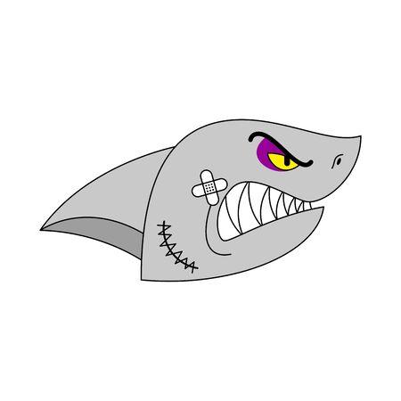 Visage de requin voyou. tyran prédateur de l'eau. ruffian Grand poisson de mer prédateur. Illustration vectorielle Vecteurs