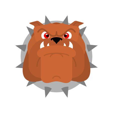 Cara de perro guardián. Signo de cabeza de perro enojado. ilustración vectorial
