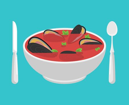 Clam soup isolated. Seafood japanese. shell bowl vector illustration