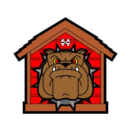 Guard dog in doghouse. Angry dog in kennel