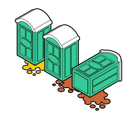El inodoro portátil se cayó y la mierda goteó. ilustración vectorial