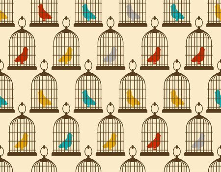 Bird in cage pattern seamless. vector background