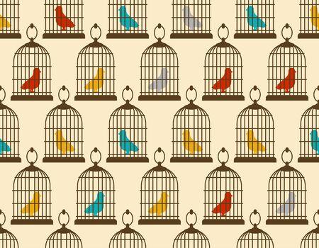 Oiseau en cage motif sans couture. fond de vecteur