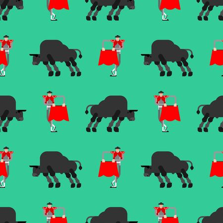 Matador and bull pattern seamless. Bullfight background. Bullfighter and ox. vector ornament