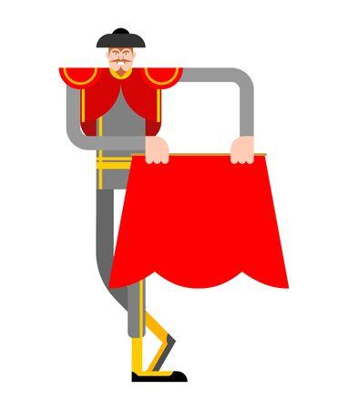 Bullfighter isolated. Matador cartoon. Bullfight vector illustration Vettoriali