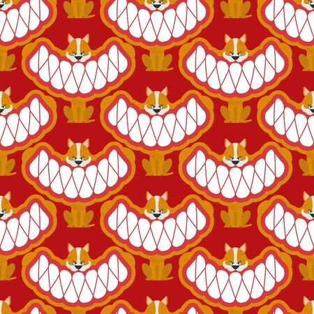 Little angry dog pattern seamless. small Pet Teeth grin background. vector texture