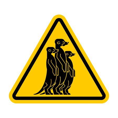 Atención Suricata. Señal de tráfico amarilla de advertencia. Precaución Pequeña mangosta Ilustración de vector