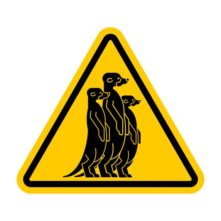 Attention Meerkat. Warning yellow road sign. Caution Small mongoose Illustration