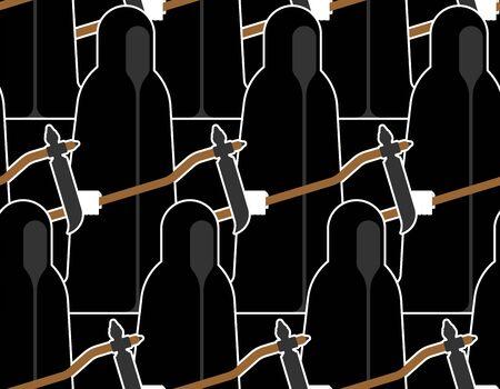 Grim Reaper pattern seamless. Death background. vector texture Ilustração