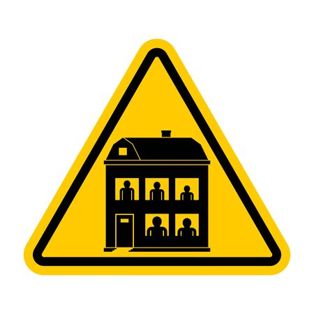 Attention Family home. Warning yellow road sign. Caution Family residence