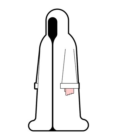 White monk isolated. Occultist in hood. Monastic cartoon. friar vector illustration