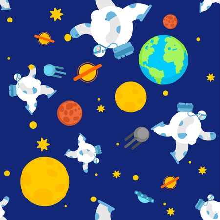 Fat astronaut space pattern seamless. Thick cosmonaut background. Stock Illustratie