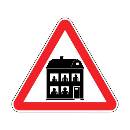 Attention Family home. Warning red road sign. Caution Family residence