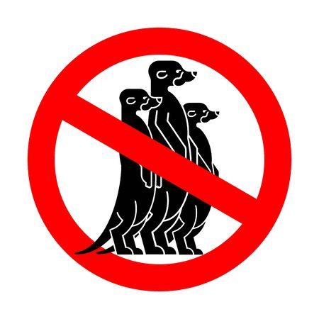 Stop Meerkat. Red road Forbidding sign. Ban Small mongoose