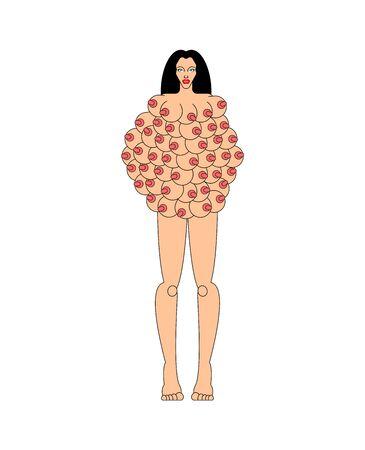 가슴이 많은 여자. 후터스 여신. 많은