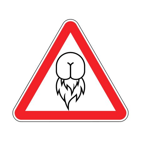 Attention Butt hurt. Warning red road sign. Caution Ass on fire. Butt Hurt icon. irritability emblem vector illustration