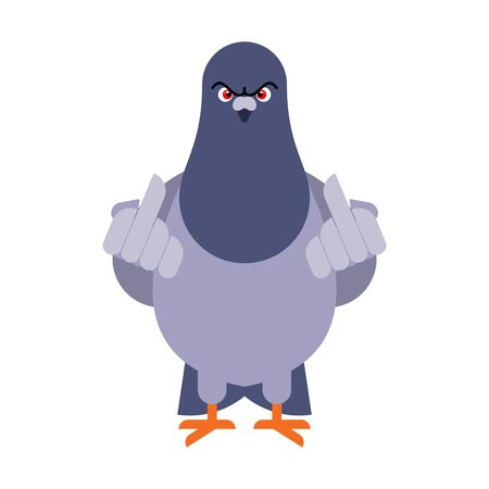 Pigeon shows fuck. Angry dove. Aggressive City Bird. vector illustration