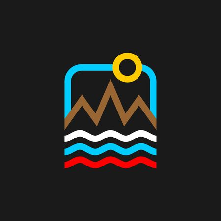 Russian travel agency  . Russia Travel sign. Sky and Sea. Nature icon. Mountains and fields symbol