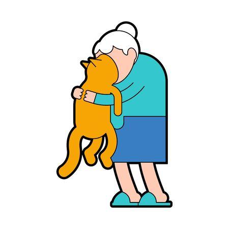 Grandma hugs cat. grandmother loves pet. granny and home animal. vector illustration