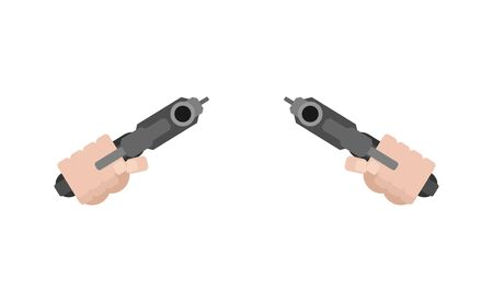Two Gun and hand front view. handgun in fist isolated. Vector illustration