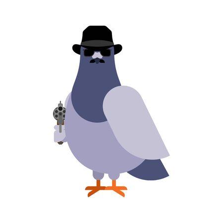 Dove spy. pigeon Secret agent. City bird in hat and with gun