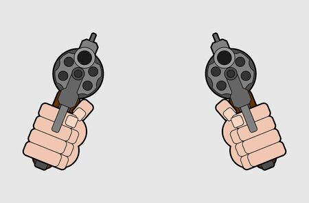 Two Revolver front view. Gun in fist isolated. Vector illustration