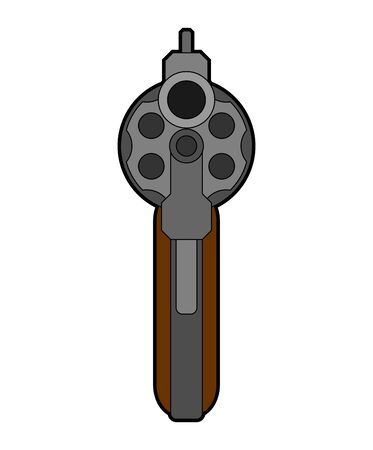 Revolver front view. Gun isolated. Vector illustration