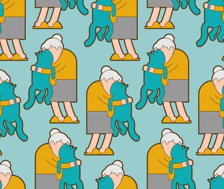 Grandma and cat pattern seamless. grandmother loves pet background .