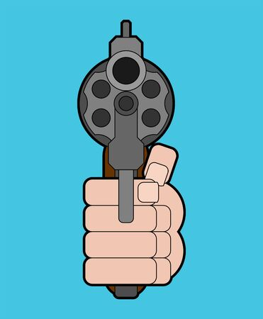 Revolver and hand front view. Gun in fist isolated. Vector illustration Çizim