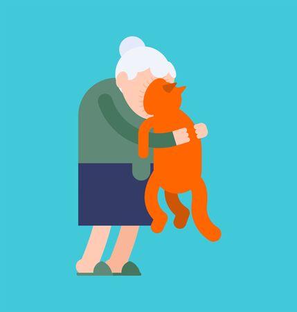 Grandma hugs cat. grandmother loves pet. granny amd home animal. vector illustration