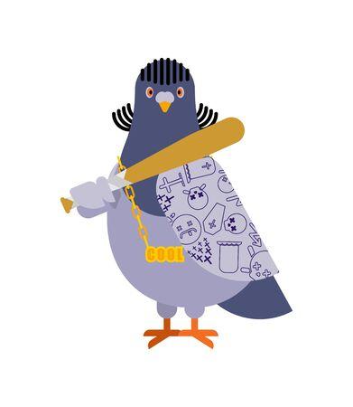 Pigeon gangster. Cool City bird. SWAG gangsta. Pigeon guy rapper Illustration