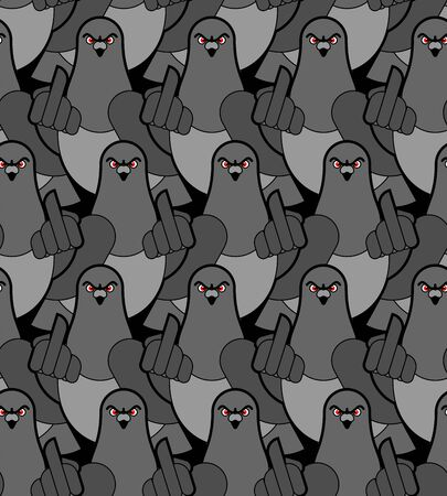 Pigeon shows fuck pattern seamless. Angry dove background. Aggressive City Bird texture. vector ornament Illustration