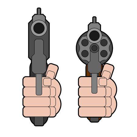 Revolver gun front view. Gun in fist isolated. Vector illustration Çizim