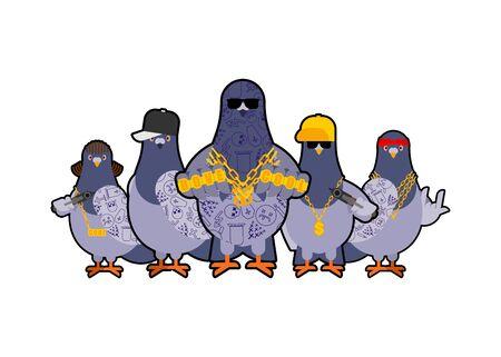 Pigeon gangster gang set. Cool City bird. Ilustração Vetorial