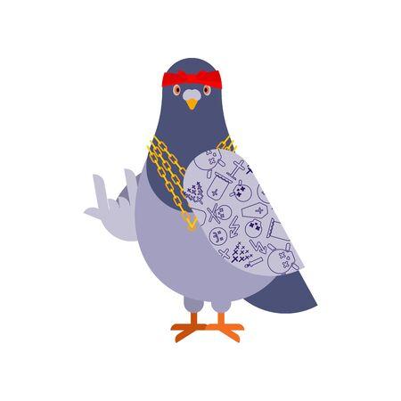 Gángster de paloma. Pájaro fresco de la ciudad. Ilustración de vector