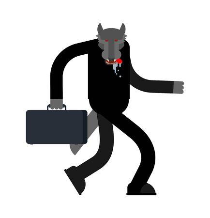 Wolf businessman isolated. Boss predator.