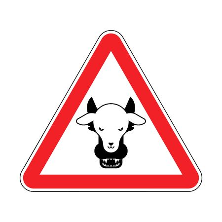 Attention Wolf in sheep's clothing. Warning red road sign. Caution Hypocrite. Danger Trickster and liar