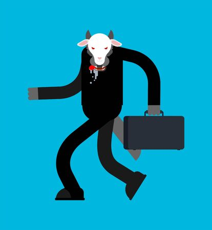 Wolf in sheeps clothing businessman isolated.