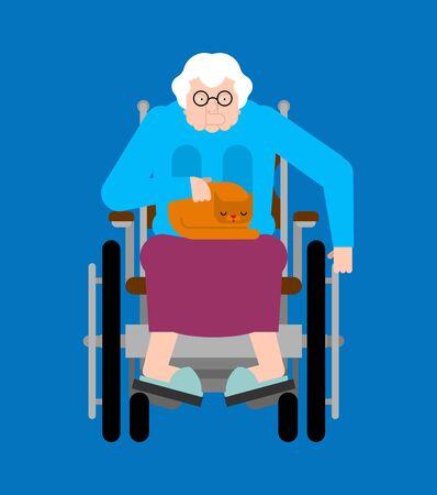 Grandma on wheelchair. Disabled granny can't walk Foto de archivo - 129808848
