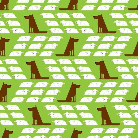 Dog guards flock of sheep pattern seamless. Dogs and lambs background