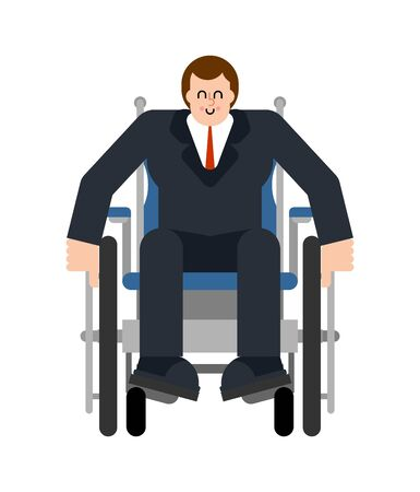 Boss on wheelchair. Disabled businessman can't walk Illustration