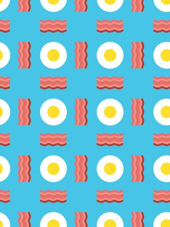 Fried eggs and bacon pattern seamless.